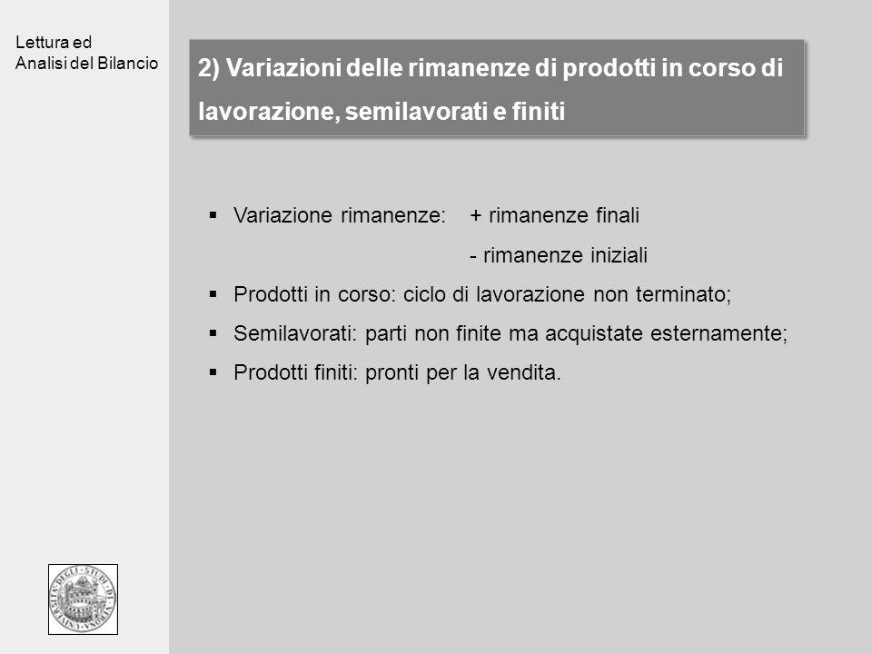 2) Variazioni delle rimanenze di prodotti in corso di lavorazione, semilavorati e finiti