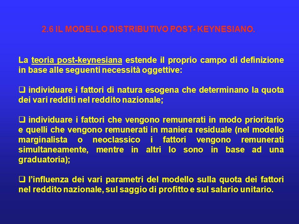 2.6 IL MODELLO DISTRIBUTIVO POST- KEYNESIANO.