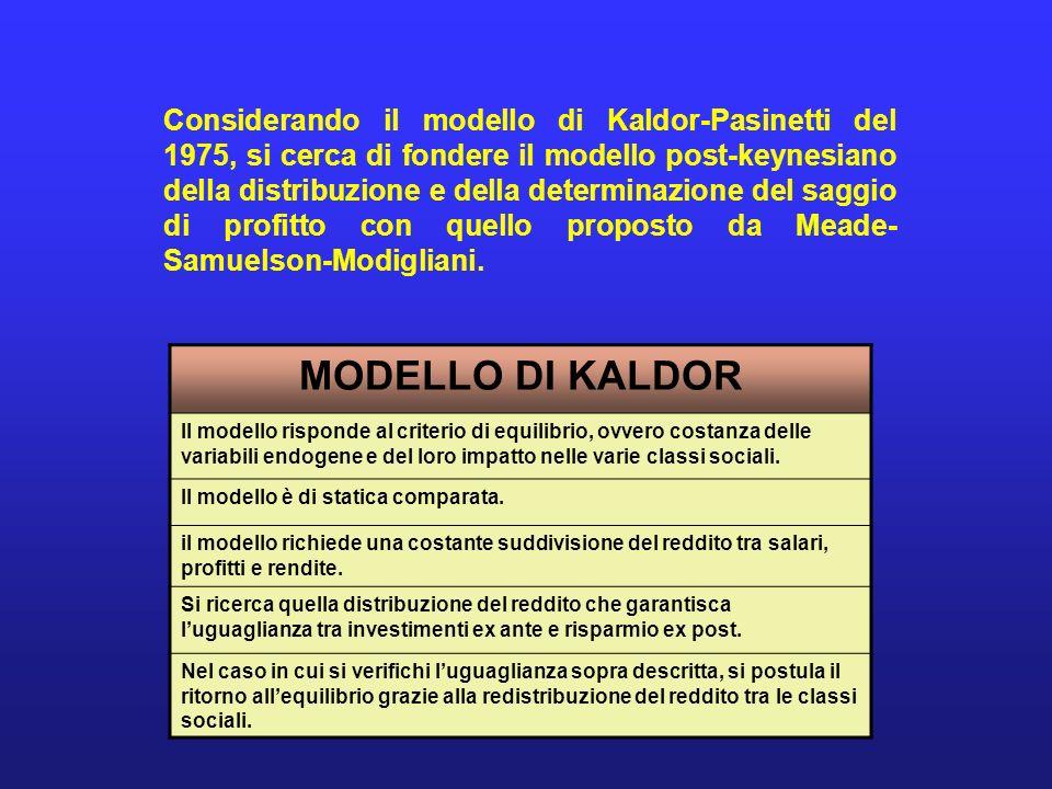 Considerando il modello di Kaldor-Pasinetti del 1975, si cerca di fondere il modello post-keynesiano della distribuzione e della determinazione del saggio di profitto con quello proposto da Meade-Samuelson-Modigliani.