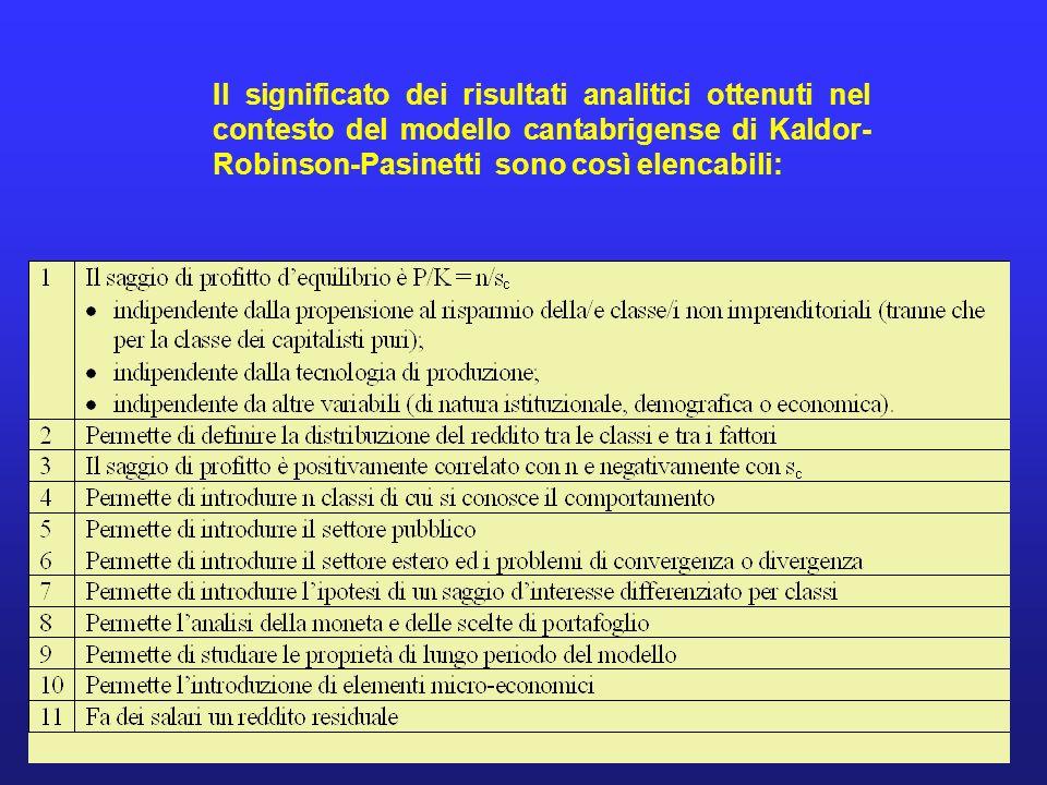 Il significato dei risultati analitici ottenuti nel contesto del modello cantabrigense di Kaldor-Robinson-Pasinetti sono così elencabili: