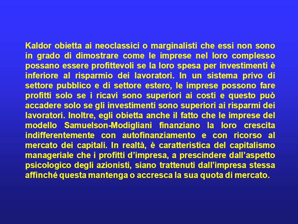 Kaldor obietta ai neoclassici o marginalisti che essi non sono in grado di dimostrare come le imprese nel loro complesso possano essere profittevoli se la loro spesa per investimenti è inferiore al risparmio dei lavoratori.