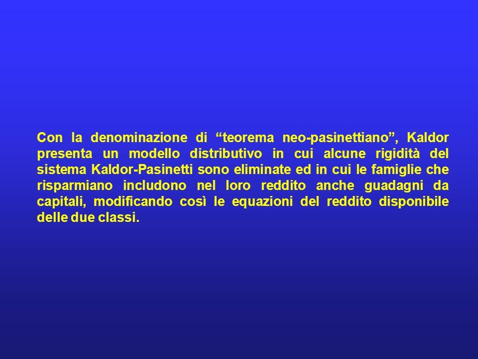 Con la denominazione di teorema neo-pasinettiano , Kaldor presenta un modello distributivo in cui alcune rigidità del sistema Kaldor-Pasinetti sono eliminate ed in cui le famiglie che risparmiano includono nel loro reddito anche guadagni da capitali, modificando così le equazioni del reddito disponibile delle due classi.