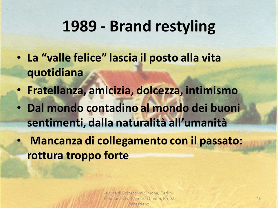 1989 - Brand restylingLa valle felice lascia il posto alla vita quotidiana. Fratellanza, amicizia, dolcezza, intimismo.