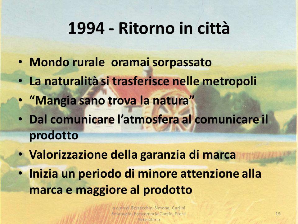 1994 - Ritorno in città Mondo rurale oramai sorpassato