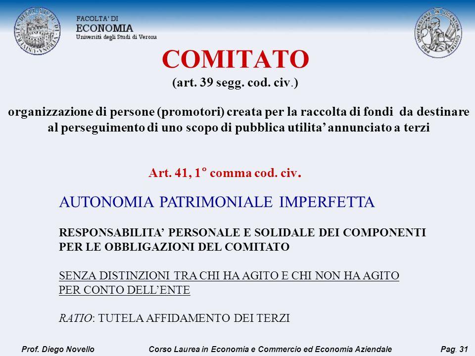 COMITATO (art. 39 segg. cod. civ.)