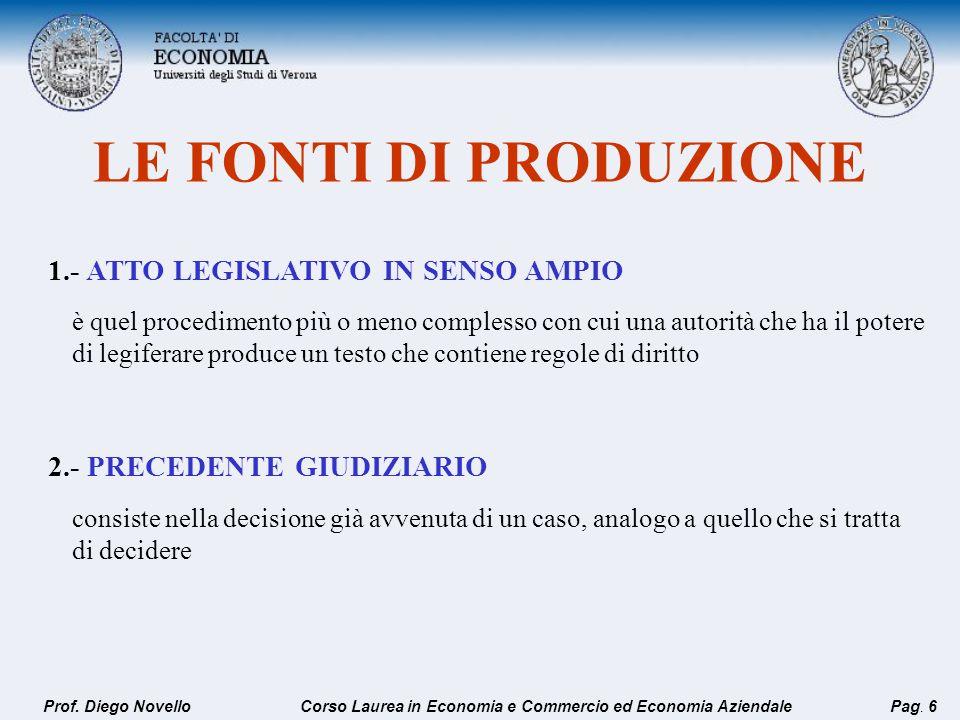 1.- ATTO LEGISLATIVO IN SENSO AMPIO 2.- PRECEDENTE GIUDIZIARIO