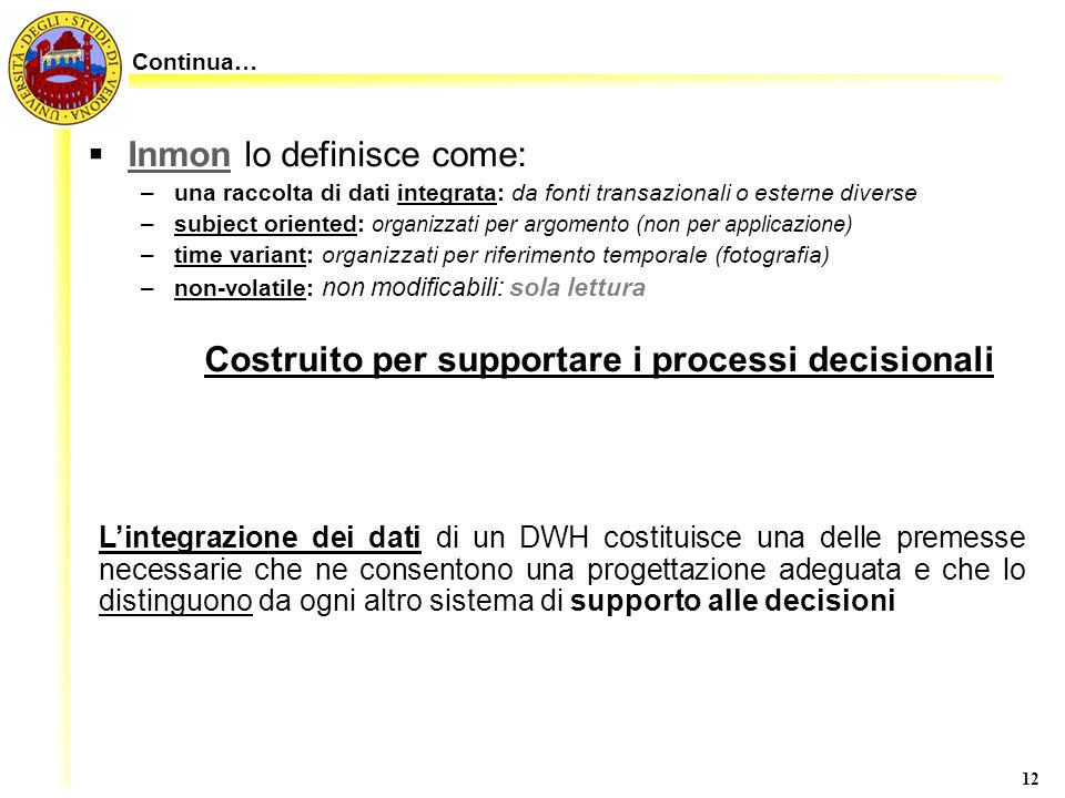 Costruito per supportare i processi decisionali