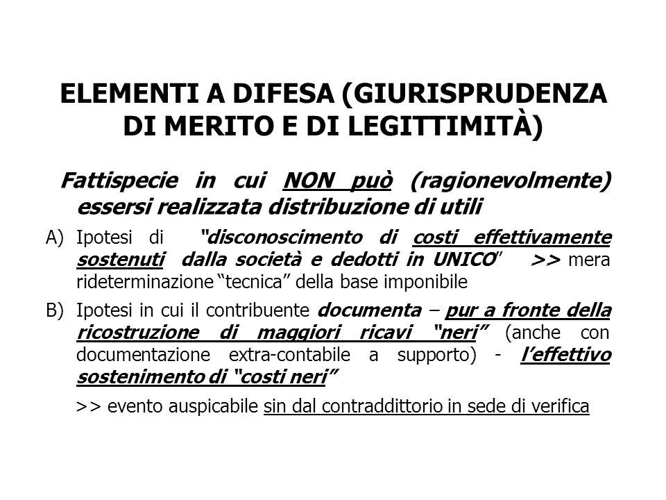 ELEMENTI A DIFESA (GIURISPRUDENZA DI MERITO E DI LEGITTIMITÀ)