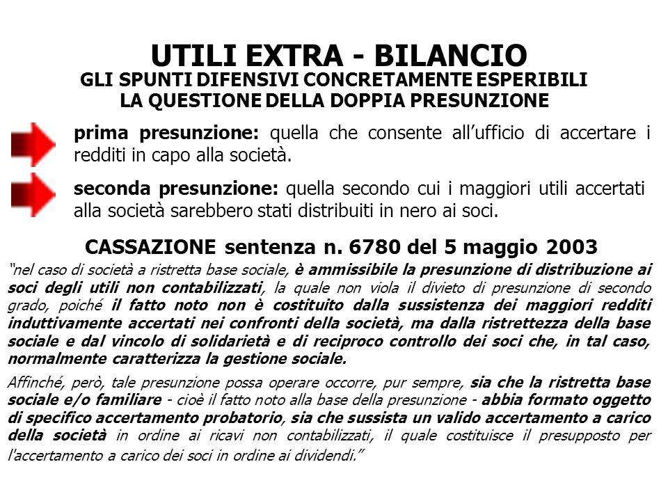 UTILI EXTRA - BILANCIO CASSAZIONE sentenza n. 6780 del 5 maggio 2003