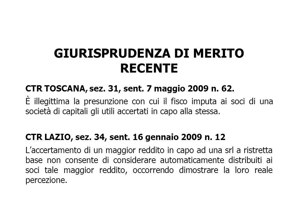GIURISPRUDENZA DI MERITO RECENTE