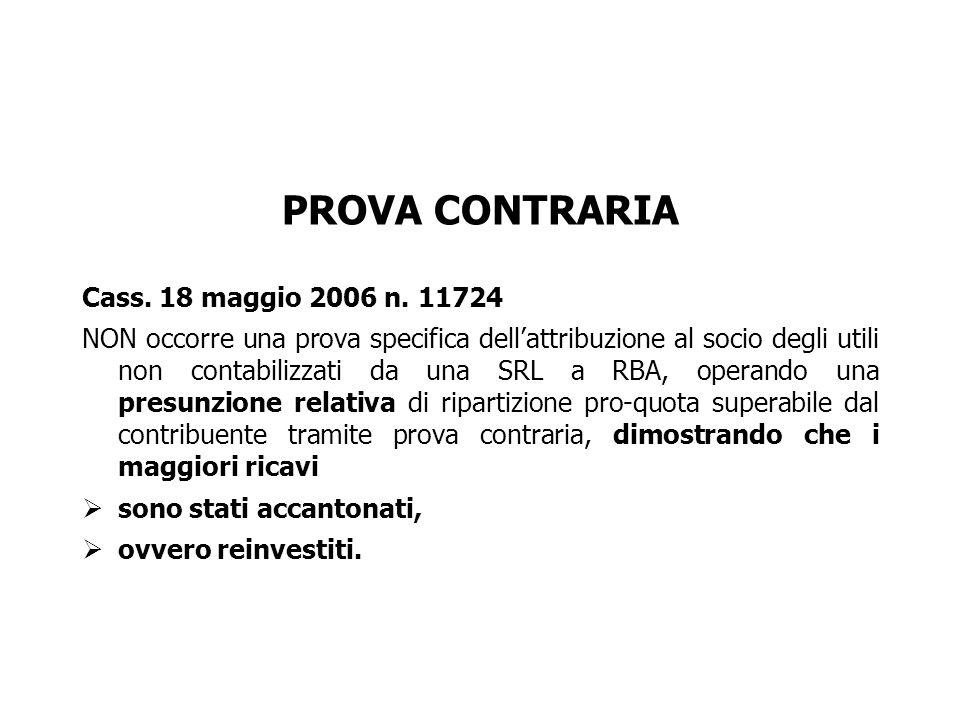 PROVA CONTRARIA Cass. 18 maggio 2006 n. 11724