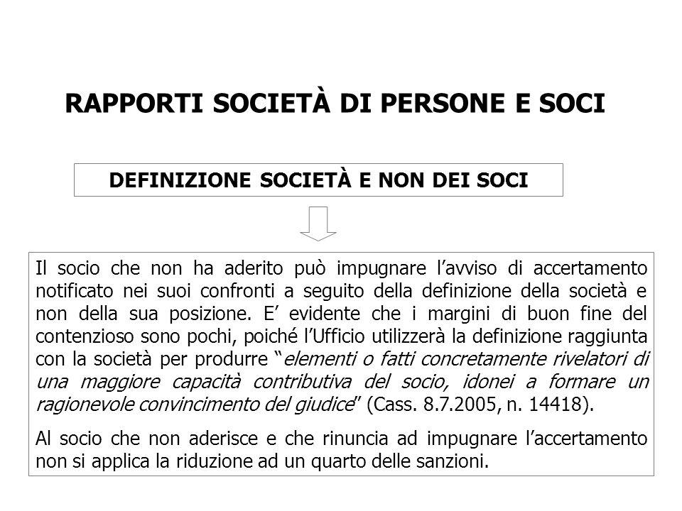 RAPPORTI SOCIETÀ DI PERSONE E SOCI DEFINIZIONE SOCIETÀ E NON DEI SOCI