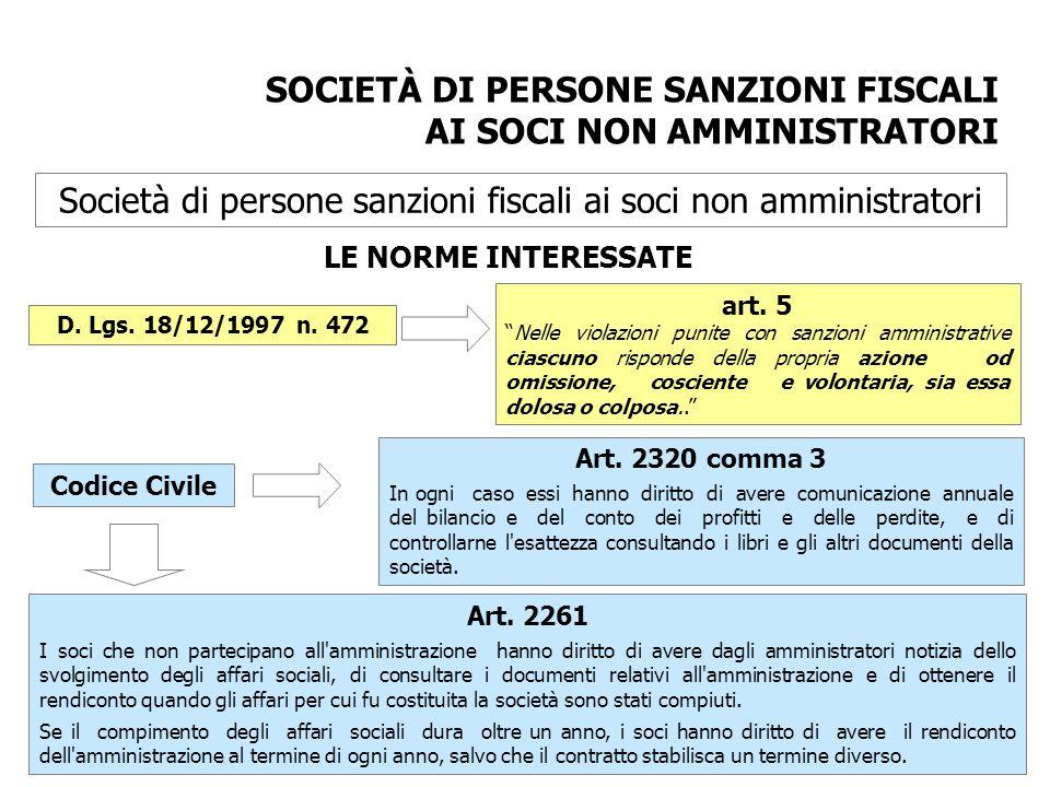 Società di persone sanzioni fiscali ai soci non amministratori