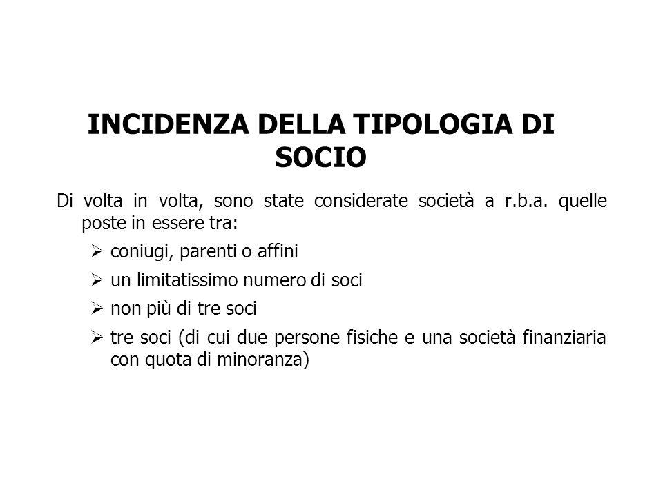 INCIDENZA DELLA TIPOLOGIA DI SOCIO