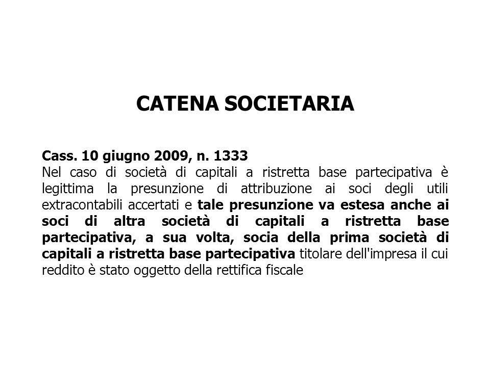 CATENA SOCIETARIA Cass. 10 giugno 2009, n. 1333