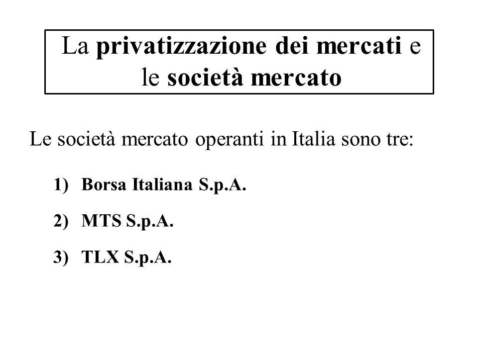 La privatizzazione dei mercati e le società mercato