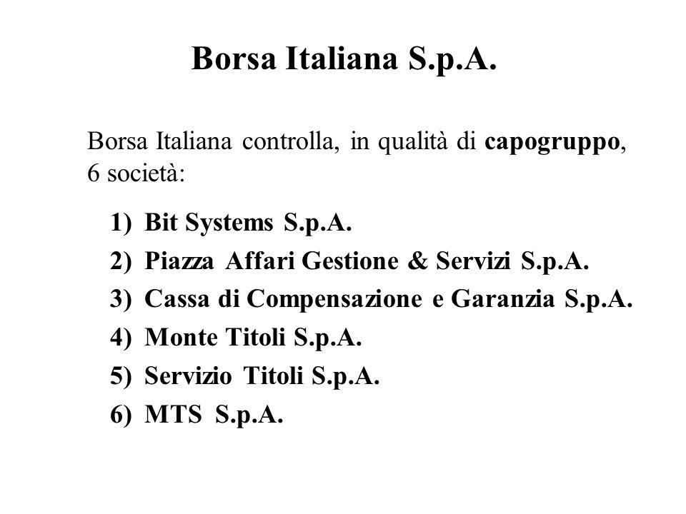 Borsa Italiana S.p.A. Borsa Italiana controlla, in qualità di capogruppo, 6 società: Bit Systems S.p.A.
