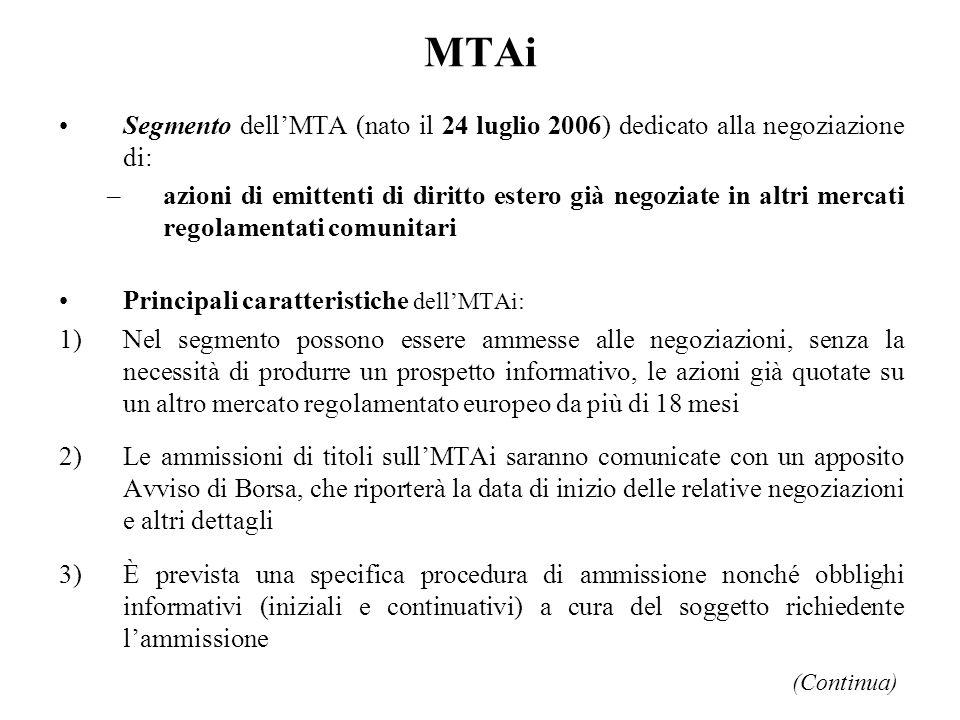 MTAi Segmento dell'MTA (nato il 24 luglio 2006) dedicato alla negoziazione di: