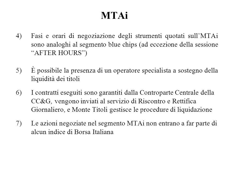 MTAi Fasi e orari di negoziazione degli strumenti quotati sull'MTAi sono analoghi al segmento blue chips (ad eccezione della sessione AFTER HOURS )