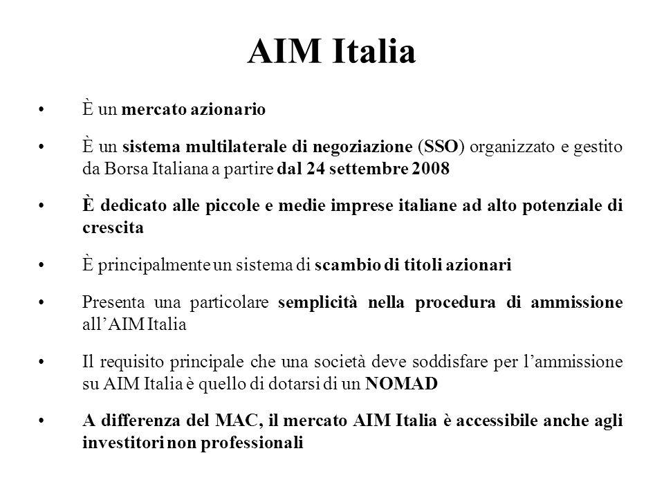 AIM Italia È un mercato azionario