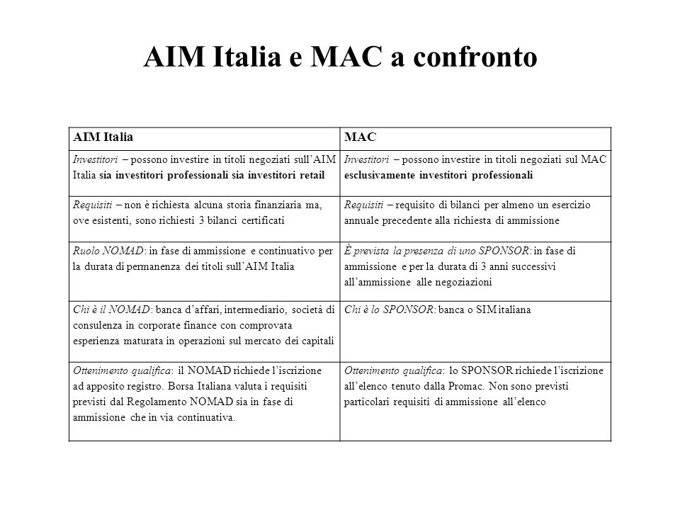 AIM Italia e MAC a confronto