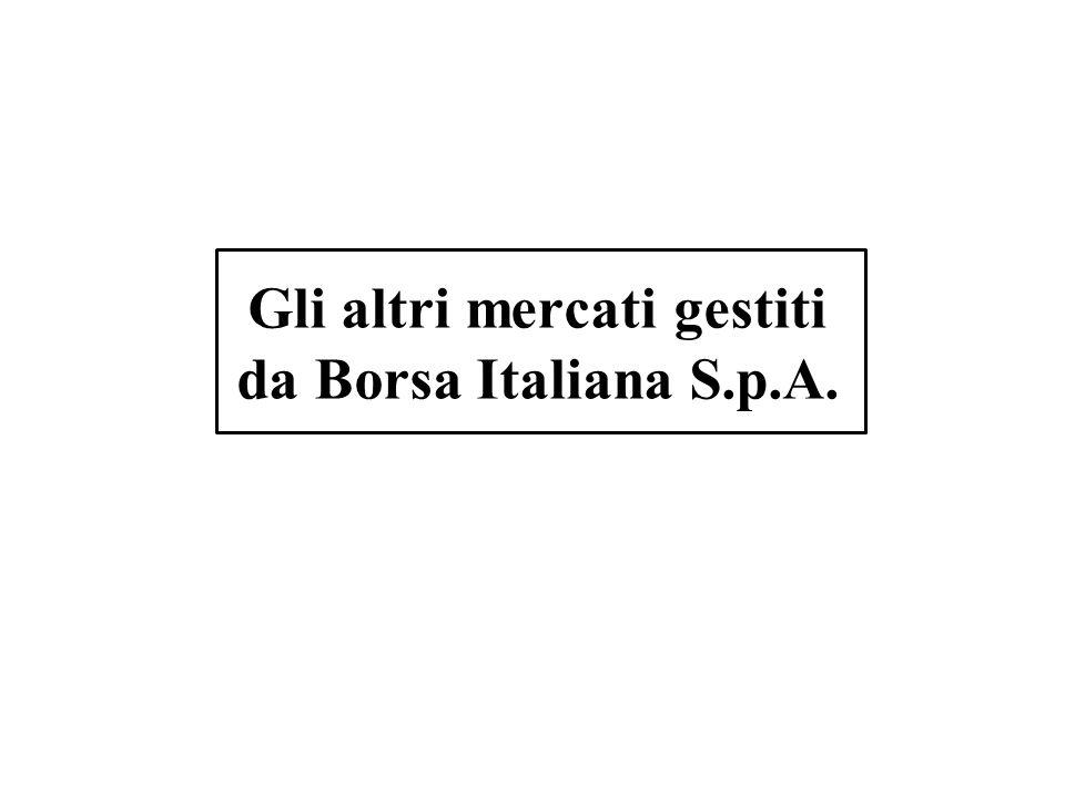 Gli altri mercati gestiti da Borsa Italiana S.p.A.
