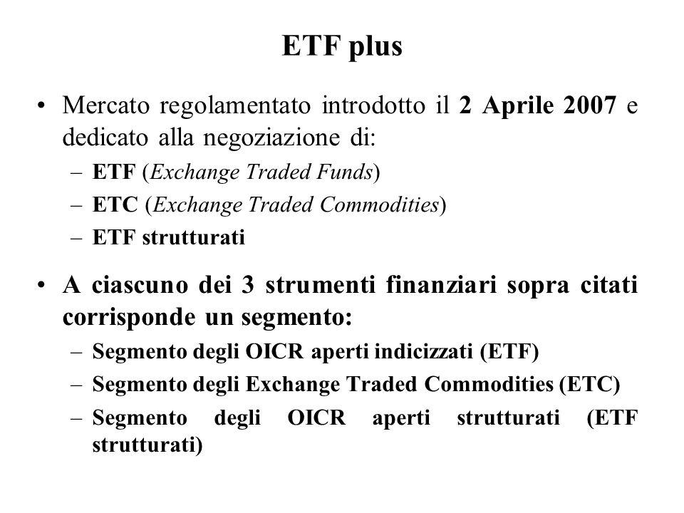 ETF plus Mercato regolamentato introdotto il 2 Aprile 2007 e dedicato alla negoziazione di: ETF (Exchange Traded Funds)