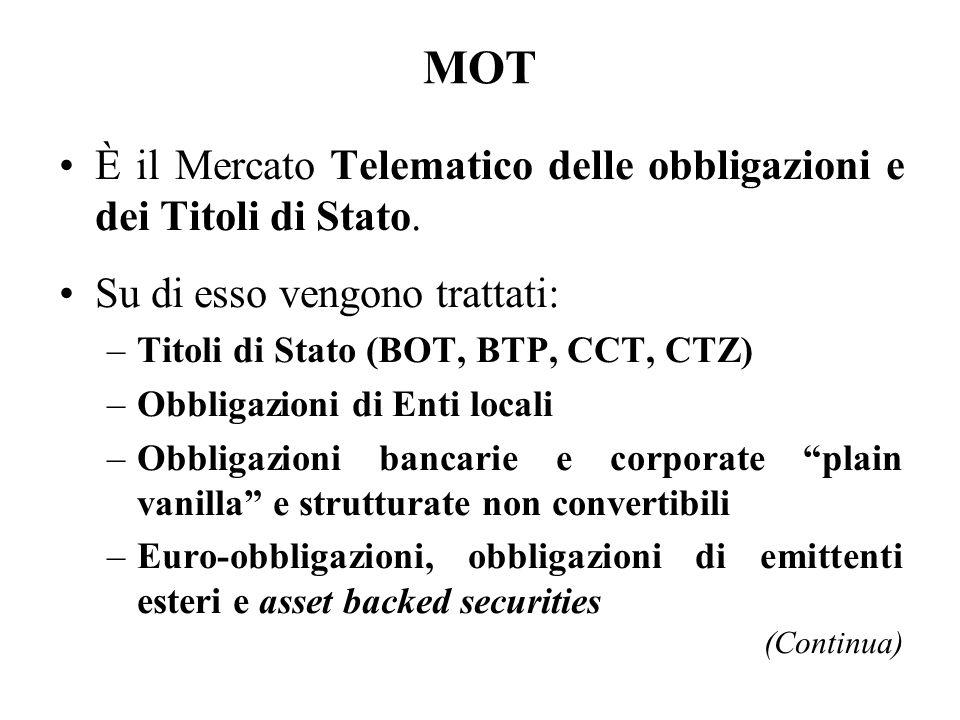 MOT È il Mercato Telematico delle obbligazioni e dei Titoli di Stato.