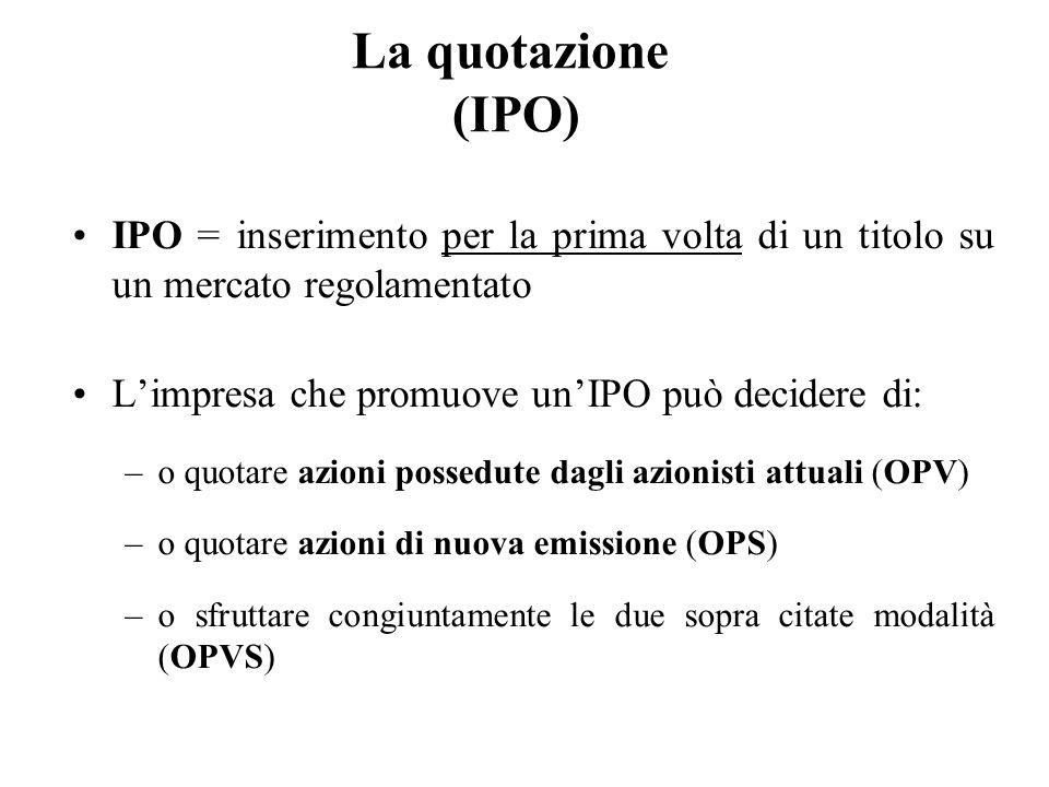 La quotazione (IPO) IPO = inserimento per la prima volta di un titolo su un mercato regolamentato.