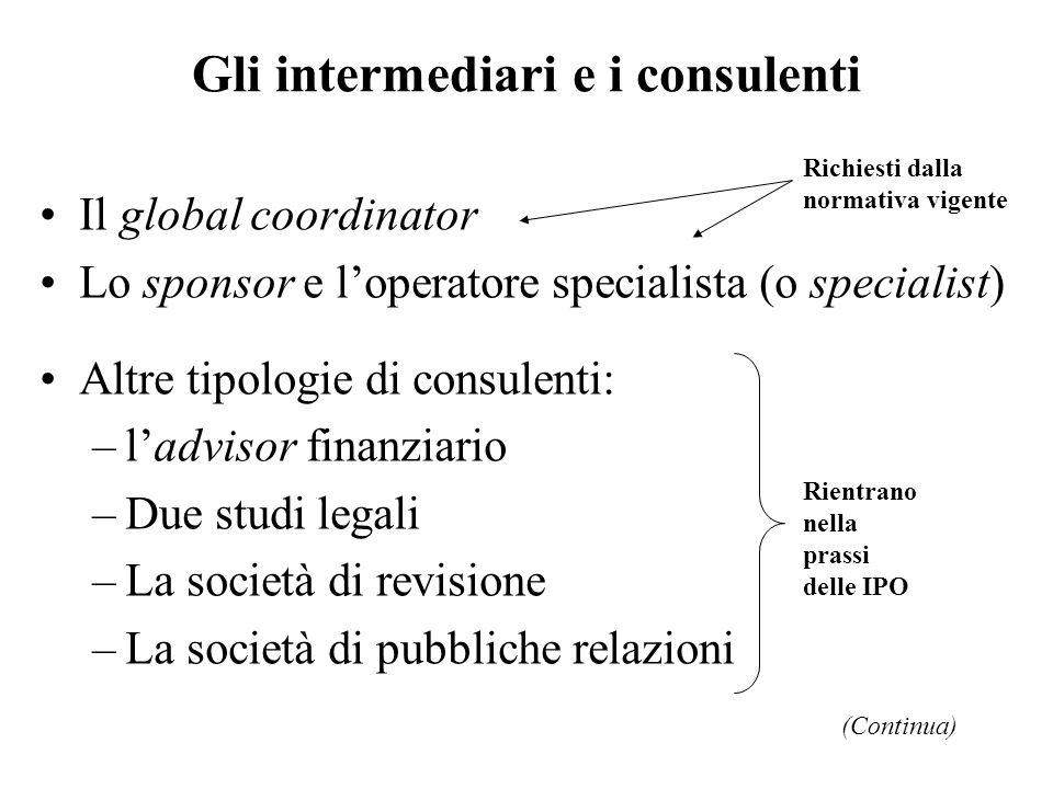 Gli intermediari e i consulenti