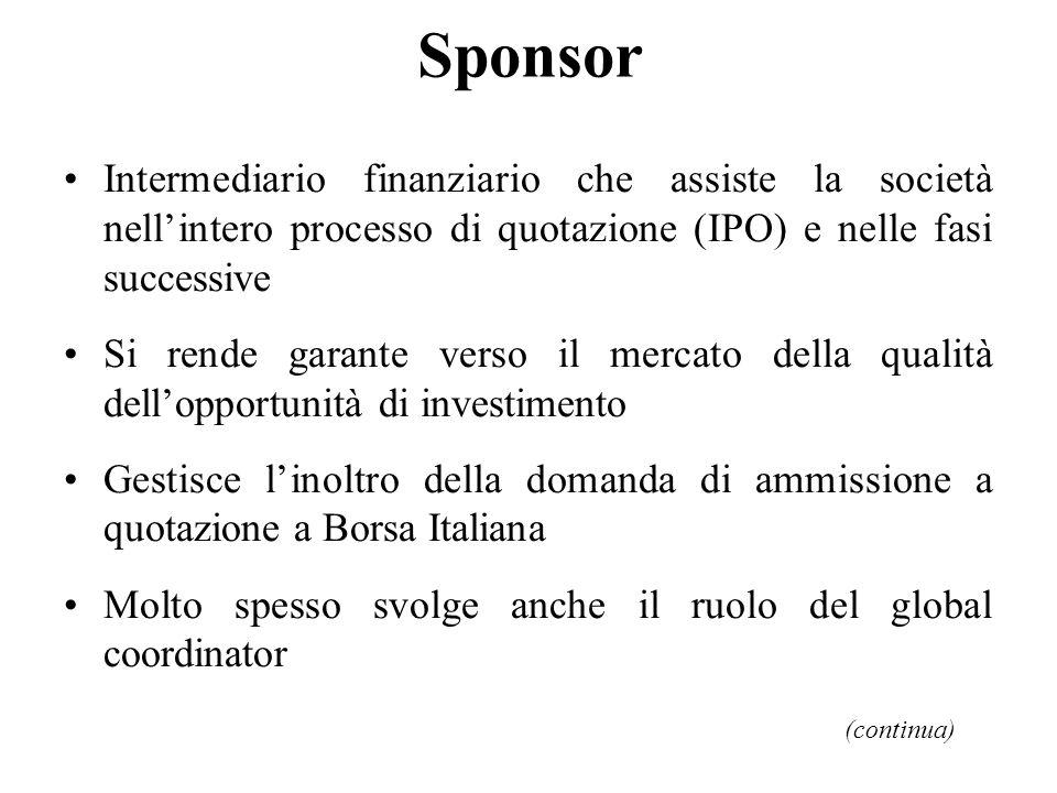 Sponsor Intermediario finanziario che assiste la società nell'intero processo di quotazione (IPO) e nelle fasi successive.