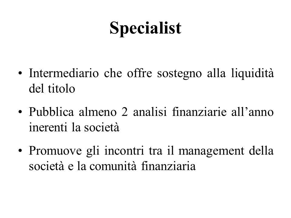 Specialist Intermediario che offre sostegno alla liquidità del titolo