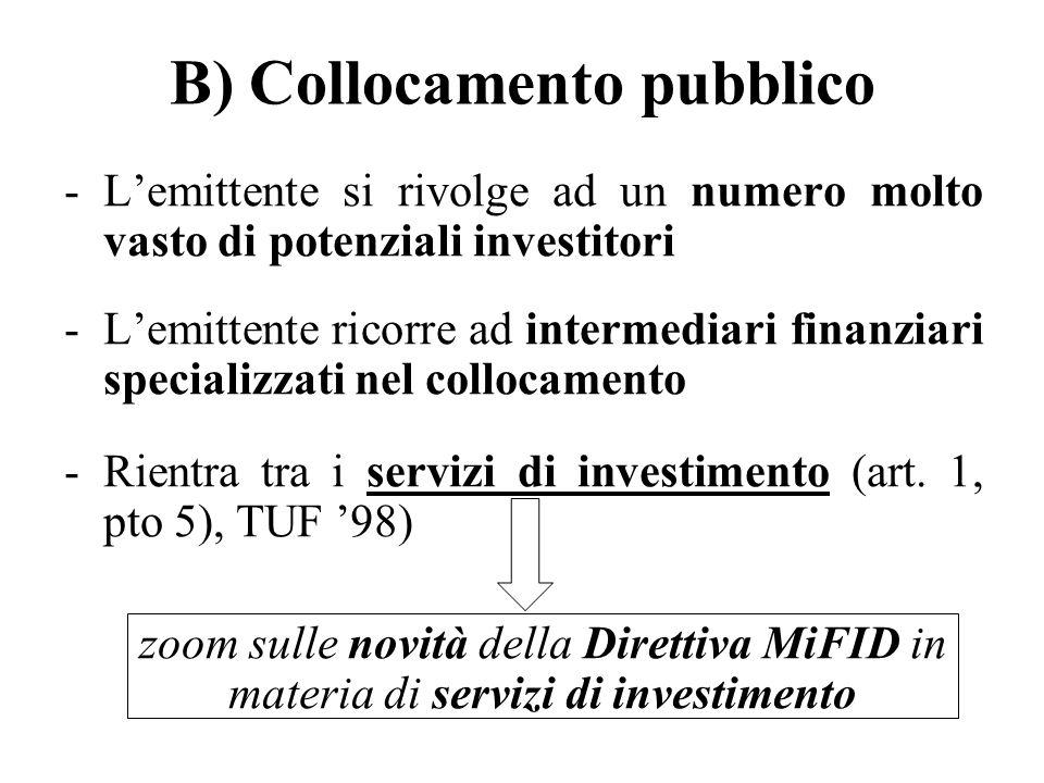 B) Collocamento pubblico