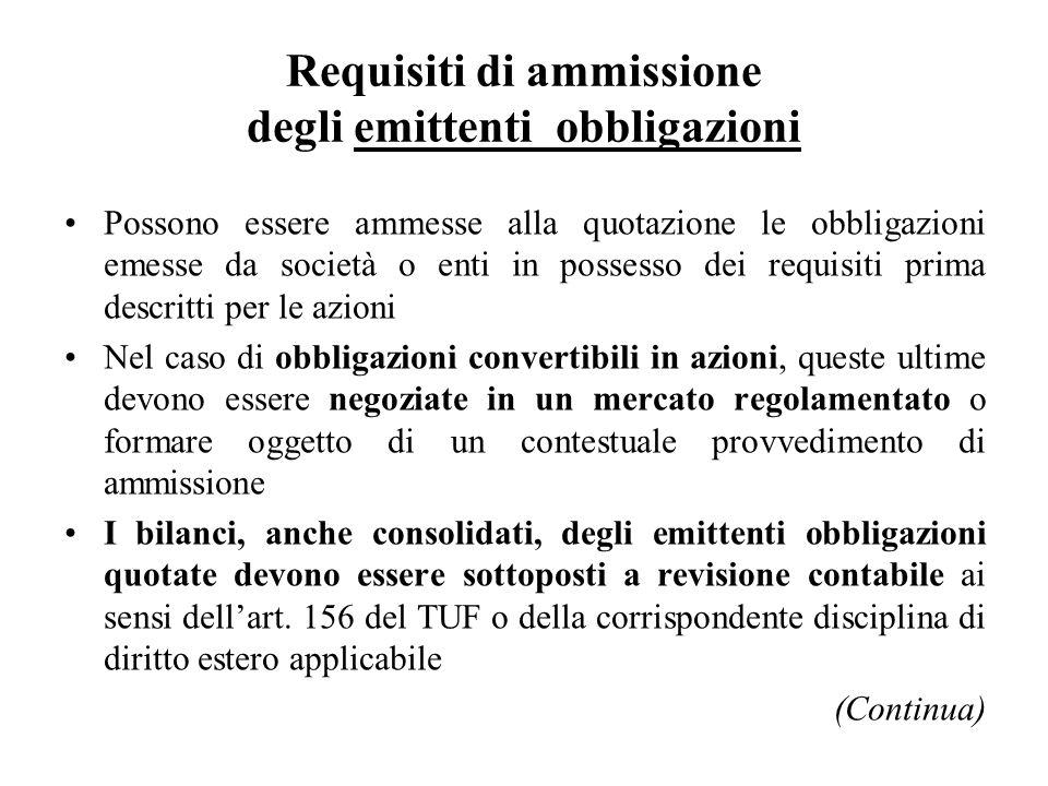 Requisiti di ammissione degli emittenti obbligazioni