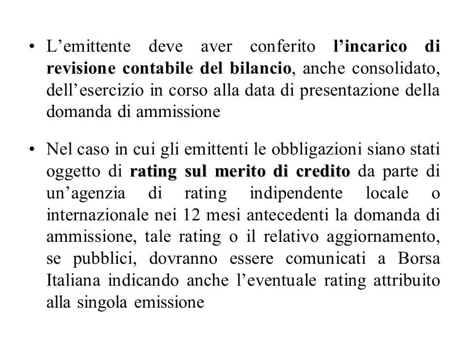 L'emittente deve aver conferito l'incarico di revisione contabile del bilancio, anche consolidato, dell'esercizio in corso alla data di presentazione della domanda di ammissione
