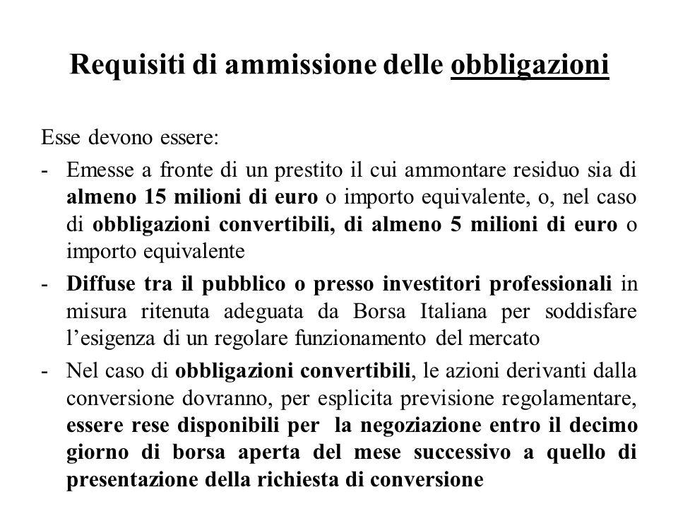 Requisiti di ammissione delle obbligazioni