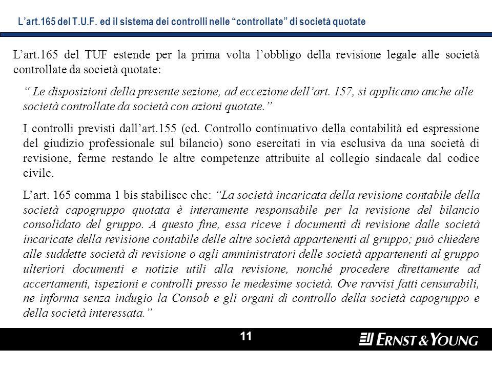 L'art.165 del T.U.F. ed il sistema dei controlli nelle controllate di società quotate
