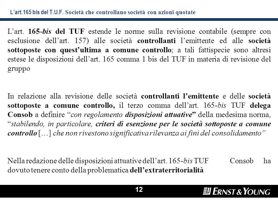 L'art.165 bis del T.U.F. Società che controllano società con azioni quotate