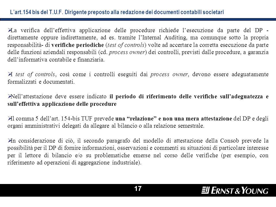 L'art.154 bis del T.U.F. Dirigente preposto alla redazione dei documenti contabili societari