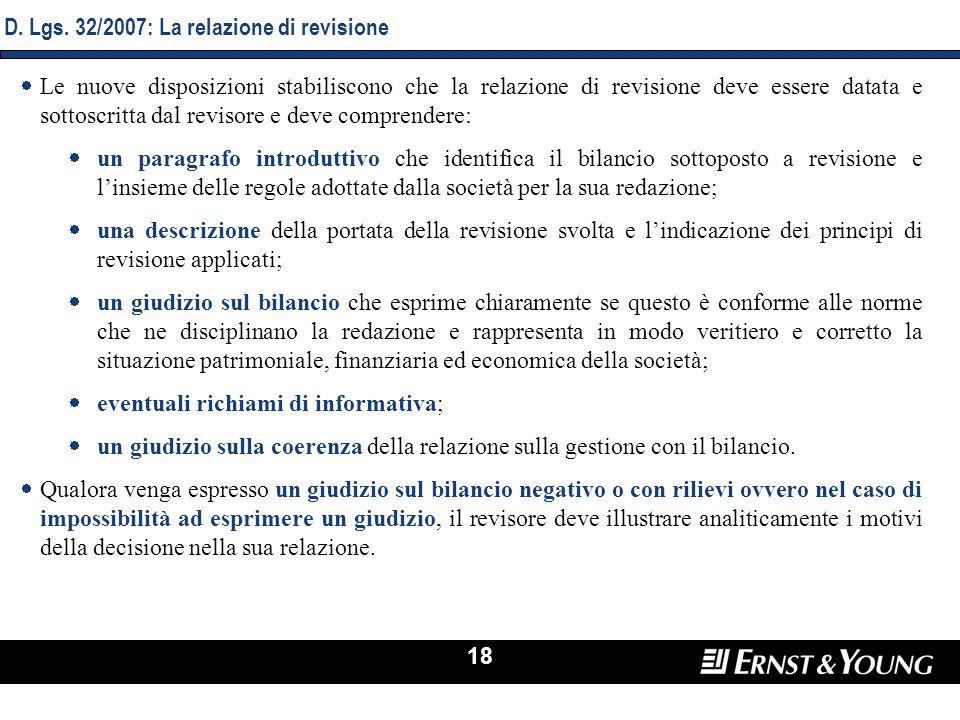 D. Lgs. 32/2007: La relazione di revisione