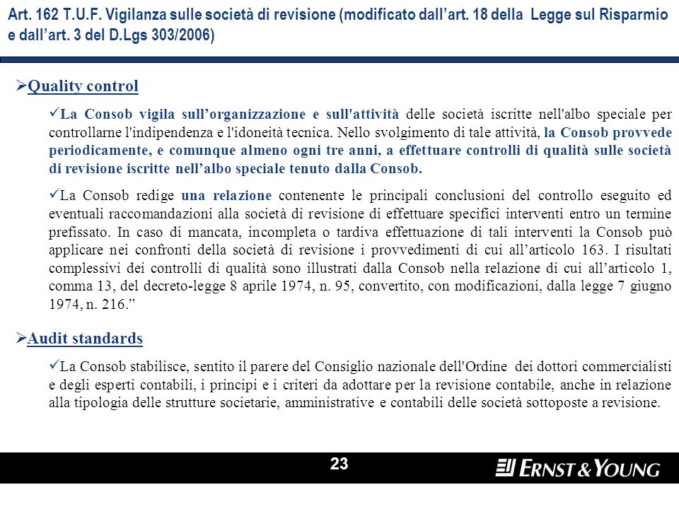 Art. 162 T.U.F. Vigilanza sulle società di revisione (modificato dall'art. 18 della Legge sul Risparmio e dall'art. 3 del D.Lgs 303/2006)