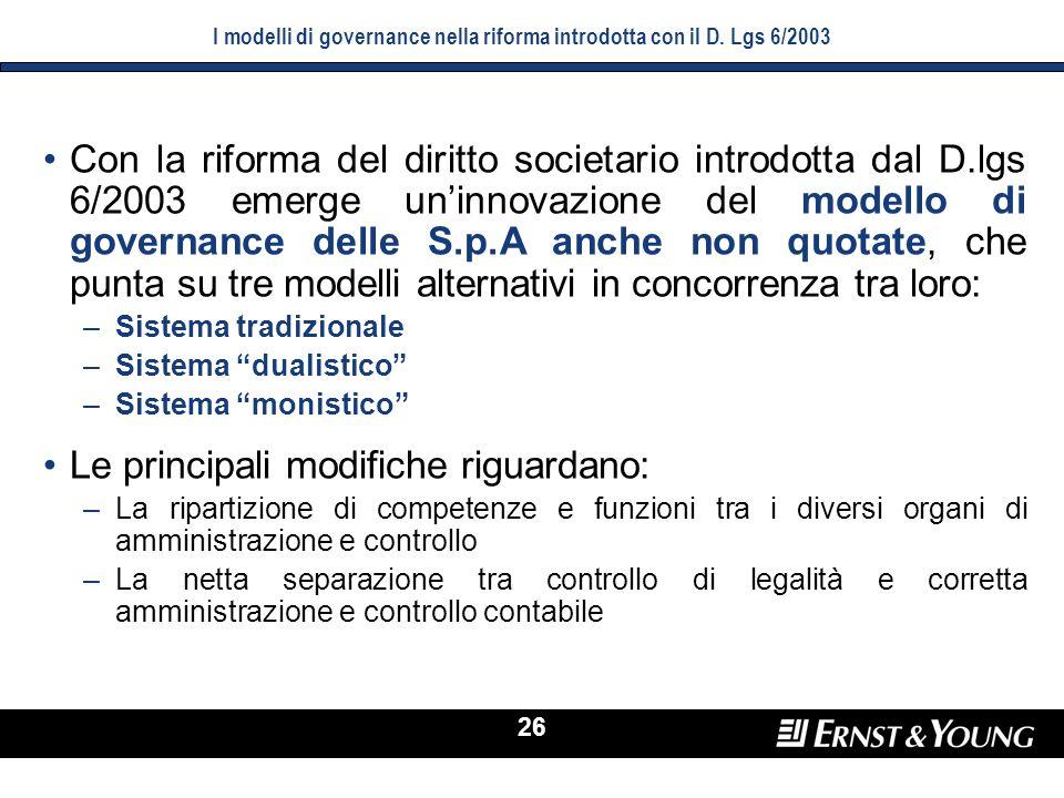 I modelli di governance nella riforma introdotta con il D. Lgs 6/2003