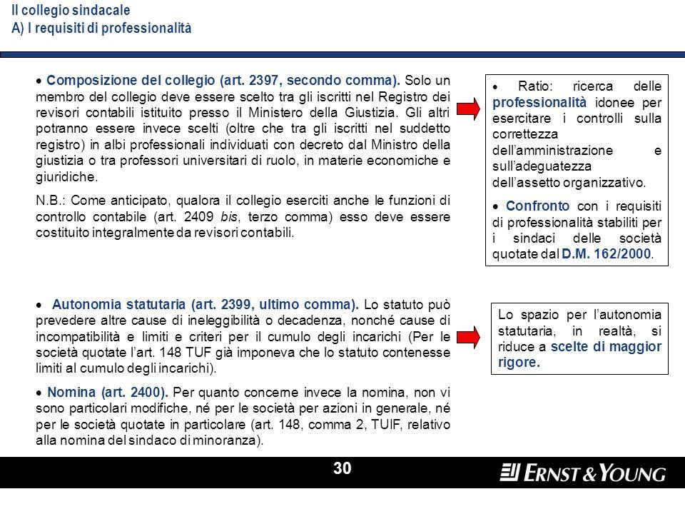 Il collegio sindacale A) I requisiti di professionalità
