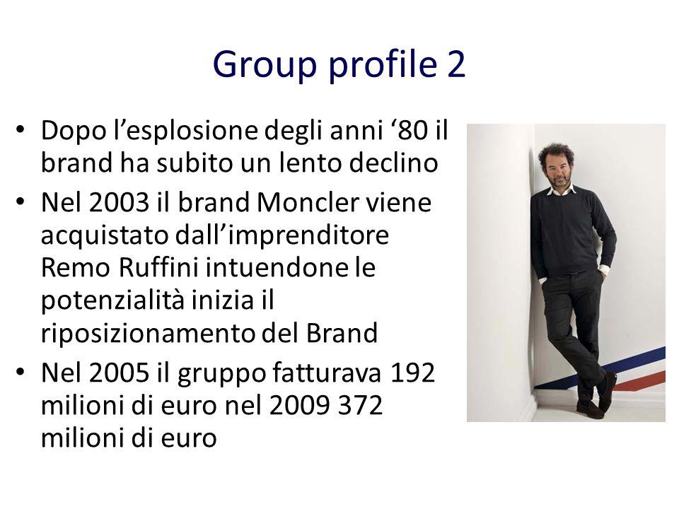 Group profile 2 Dopo l'esplosione degli anni '80 il brand ha subito un lento declino.