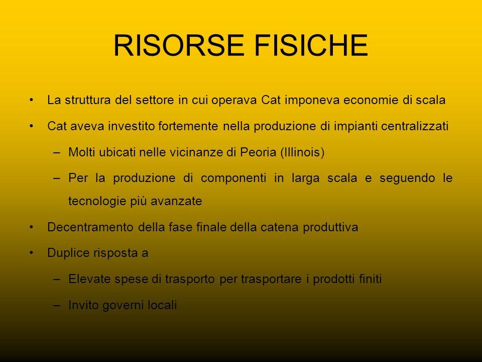 RISORSE FISICHE La struttura del settore in cui operava Cat imponeva economie di scala.
