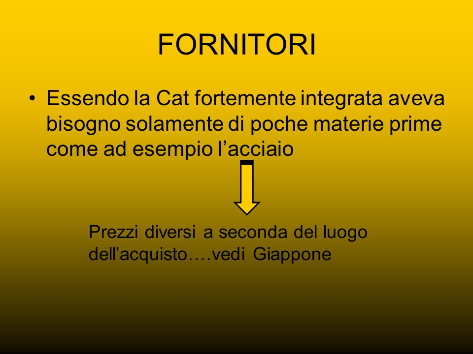 FORNITORI Essendo la Cat fortemente integrata aveva bisogno solamente di poche materie prime come ad esempio l'acciaio.