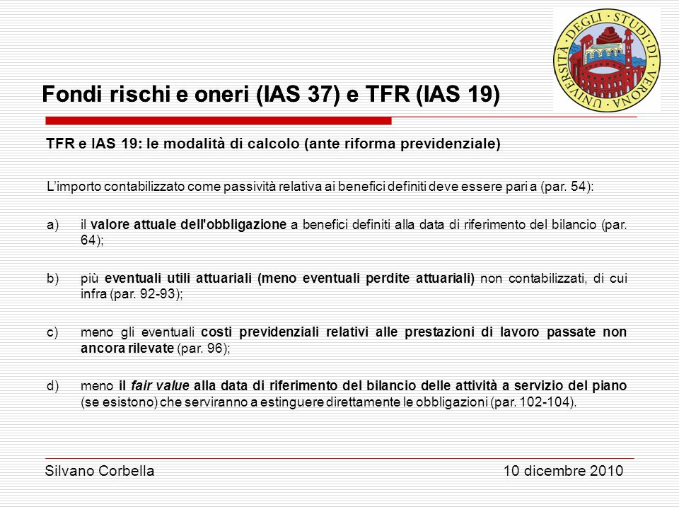 TFR e IAS 19: le modalità di calcolo (ante riforma previdenziale)