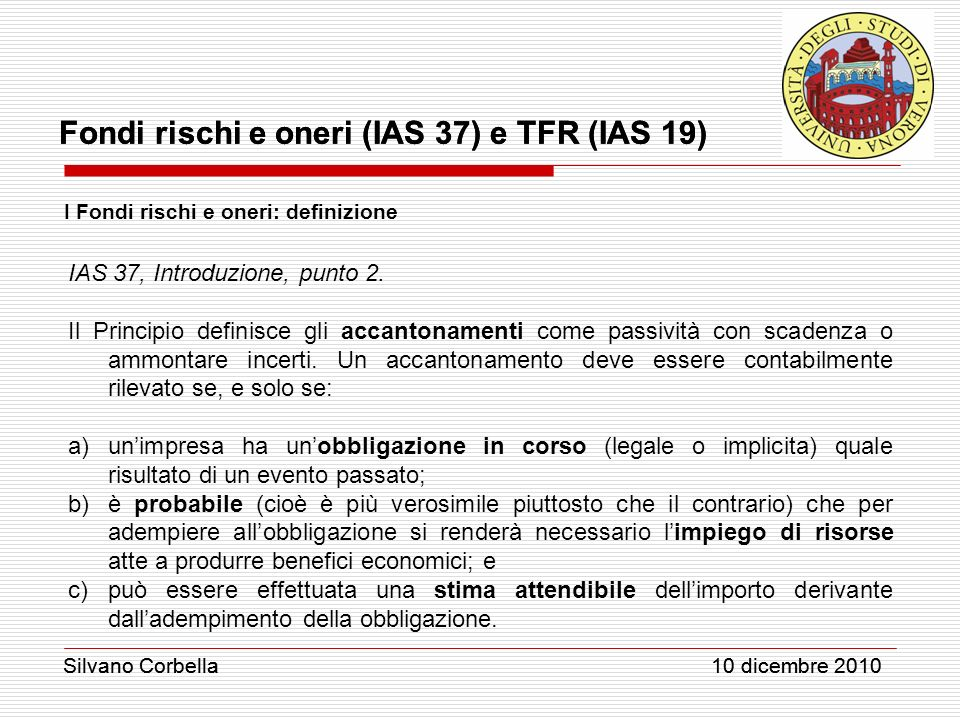 IAS 37, Introduzione, punto 2.