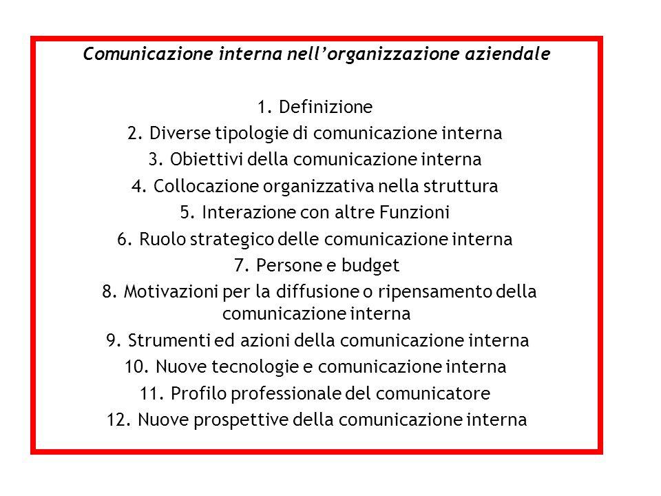 Comunicazione interna nell'organizzazione aziendale 1. Definizione