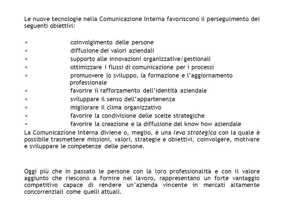Le nuove tecnologie nella Comunicazione Interna favoriscono il perseguimento dei seguenti obiettivi:
